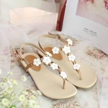 Women's Genuine Leather Flip-flop Sandals Brand Designer Applique Flower Female Sweet Flats Sandalias T-strap Beach Shoes Women