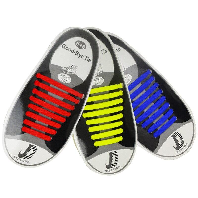 16pcs/lot Elastic Silicone Shoelaces for Shoes Special Shoelace No Tie Shoe Laces for Men Women Lacing Shoes Rubber Zapatillas 1