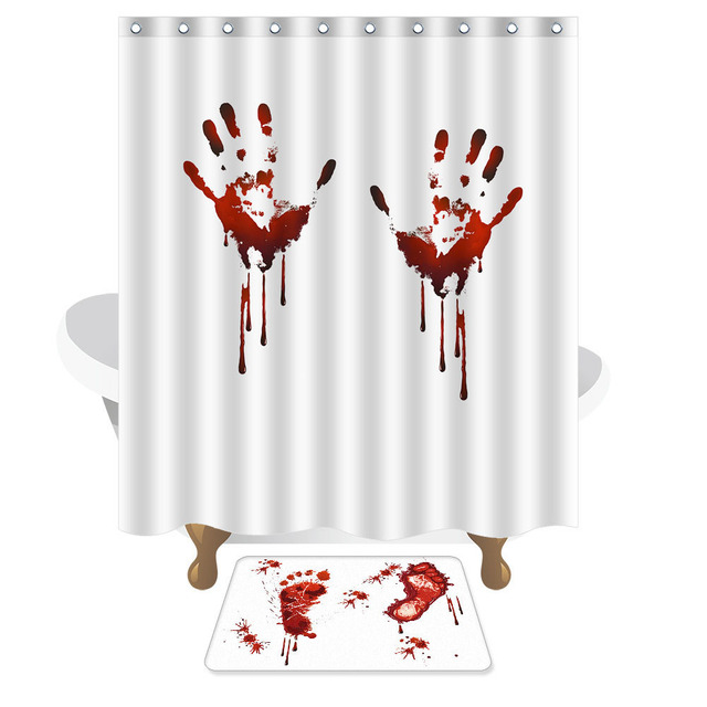 Halloween Creative personality blood hand prints shadow bath curtain ...