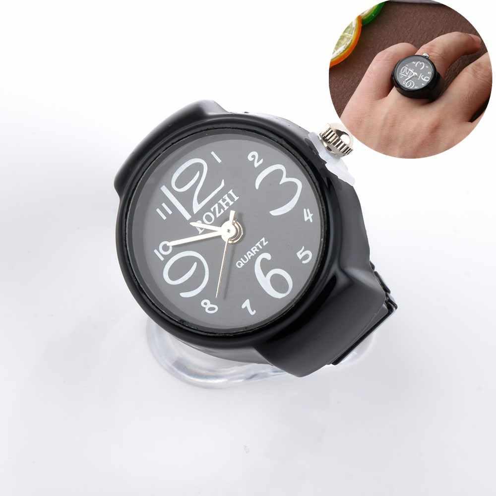 Einzigartige Uhr Ring Arabisch Anzahl Mini Uhr Kreis Einfache Design Schwarz Ring Männer Frauen Schmuck Geschenk Anillo