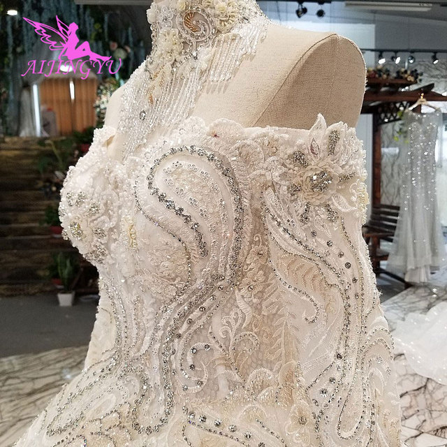 AIJINGYU Wedding Dresses India Slim Gowns female Online Long Train Gown Pearl Dress Floor Length