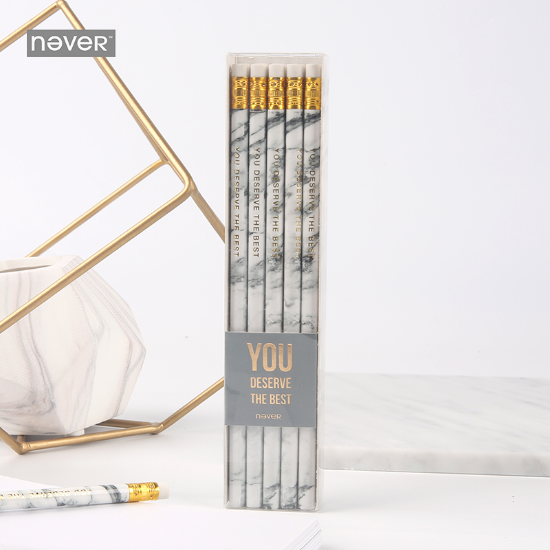 Never Marble Series 10 Pcs Hb Pencil Set With Eraser Pencils For School Student Test Writing Pen Gift Stationery Office Supplies 40pcs set wholesale cute pencil wooden material stationery pencil award hb pupils pencil with eraser factory children gift