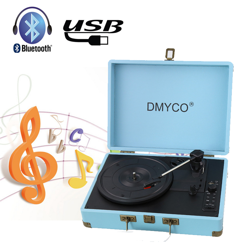 Bluetooth Music Turntable Record Player Retro Case RCA Built-in 3 Speed stereo speaker USB Audio Portable Suitcase Record Player купить недорого в Москве