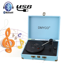 Bluetooth Music Turntable Record Player Retro Case RCA Built-in 3 Speed stereo speaker USB Audio Portable Suitcase Record Player