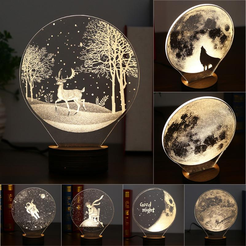 Творческий 3D светодиодный Ночные огни зарядка через usb Light Малый Настольная лампа теплый свет 3D визуальный прикроватная ночник для Спальня ... ...