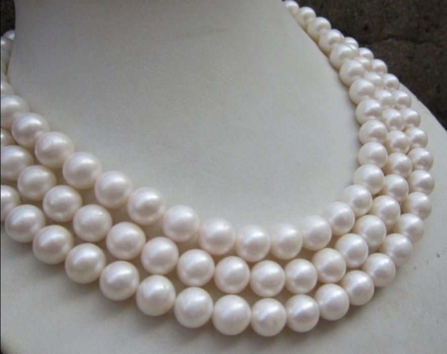 FREE SHIPPING>>>@@ > NATURAL AAA+ 10-11MM PERFECT ROUND SOUTH SEA WHITE PEARL NECKLACE 50 Clasp ^^^@^Noble style Natural Fi beautiful genuine 18 aaa 10 11mm perfect round south sea white pearl necklace yellow clasp