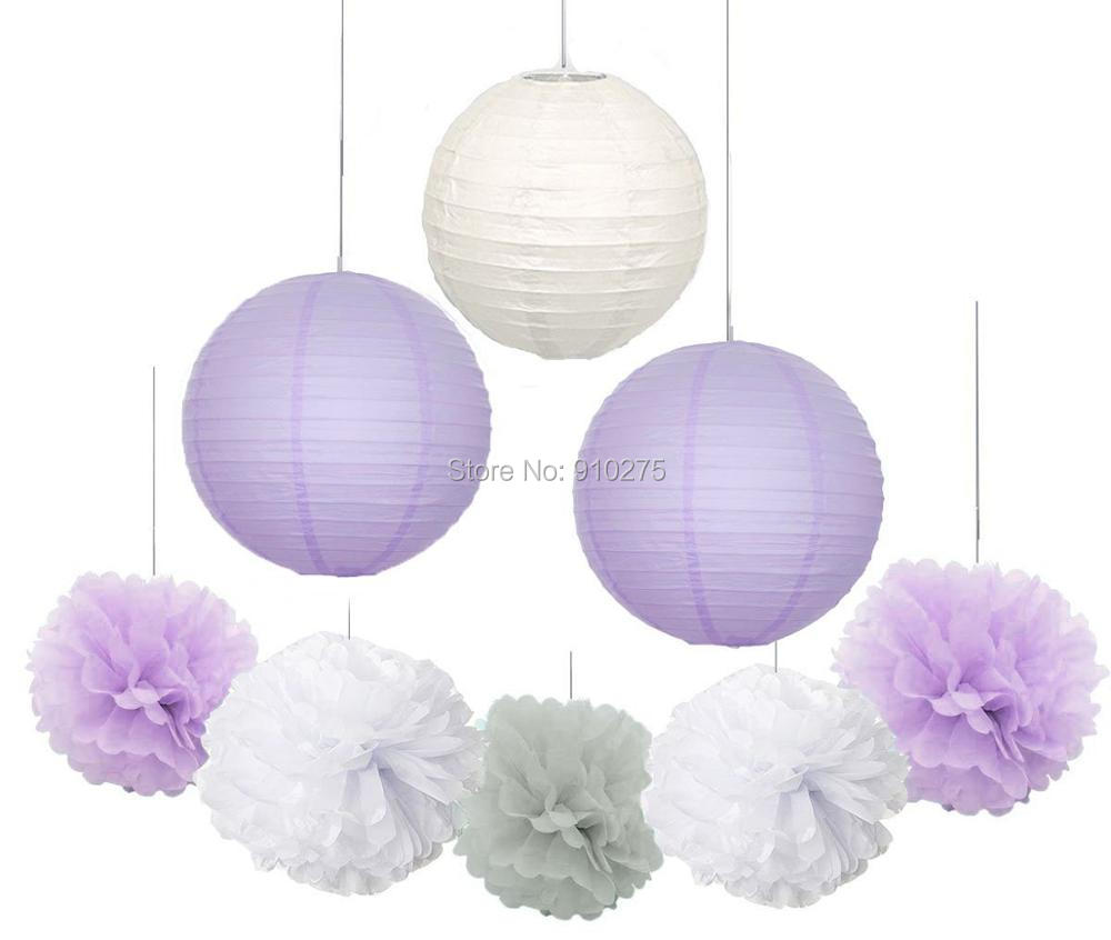 9pcs lavender grey white party hanging paper lantern paper pack pom pom flower ball wedding