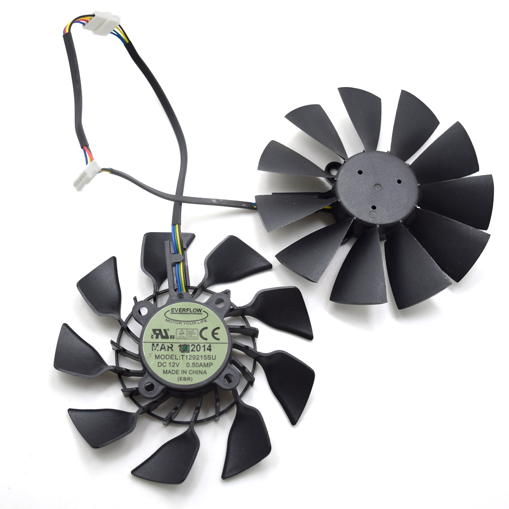2pcs/lot Everflow T129215SU 95MM DC 12V 0.5AMP EBR GTX 780 780TI R9 390 390X Graphics Card Cooling Fan New Original everflow 85mm t129215su 4pin cooling fan replace for asus gtx 460 hd 6790 6870 graphics card cooler fans diy