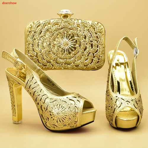 Italian-Shoes Sandal Bags-Set Matching-Bags Prom-Party Doershow Gold-Color African Summer