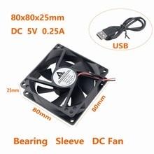 Купить с кэшбэком 2Pcs Gdstime Power Supply USB 80mm x 25mm DC 5V 8025 8cm 80x80x25mm PC Case Heatsink Cooling Fan 80mm*80mm*25mm