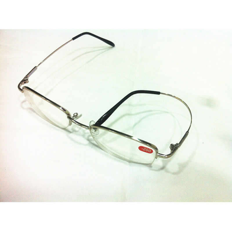 b82772cb585 High Diopters Metal Half Frame Unisex Nearsighted Myopia Reading Glasses  Half Rim Alloy Nearsighted Sight Gafas 6.0 to 10 A1-in Eyewear Frames from  Apparel ...