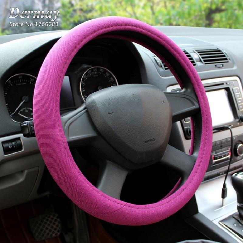 6 Renkler Keten Kumaş El Yapımı Araba Direksiyon Kapağı Nefes - Araç Içi Aksesuarları