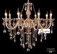 Amber Color Free Shipping Bedroom Crystal Chandelier 8 Lights Modern Luxury Chandelier Living Room Children Room