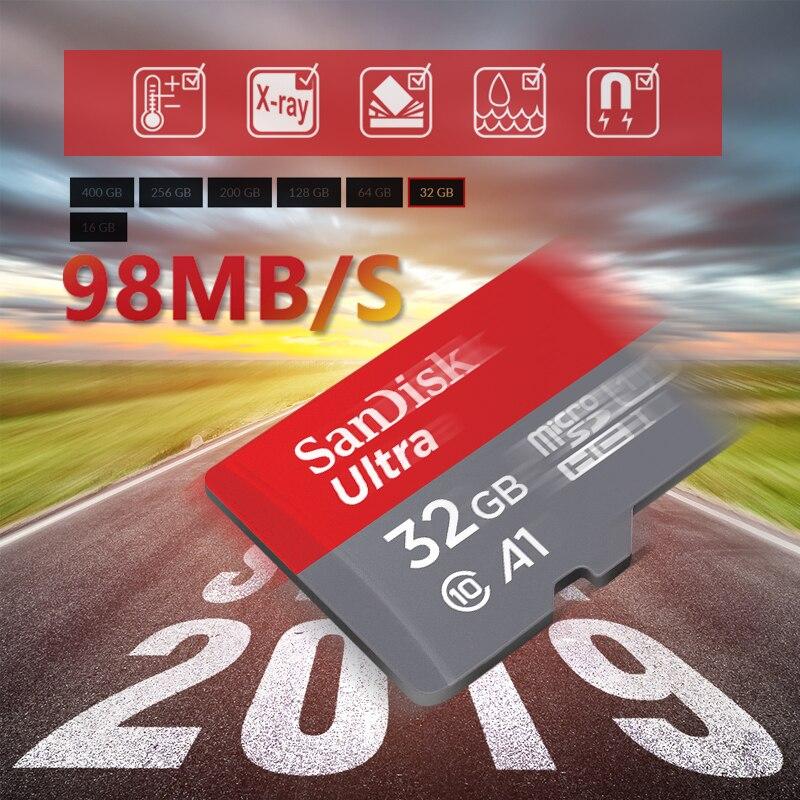 Карта памяти SanDisk Ultra Micro SD, 100% оригинал, 128 ГБ, 32 ГБ, 64 ГБ, 256 ГБ, 400 гб, TF-карта 16 Гб, класс 10 Max, 98 МБ/с./с, карта памяти для телефона, ПК-0