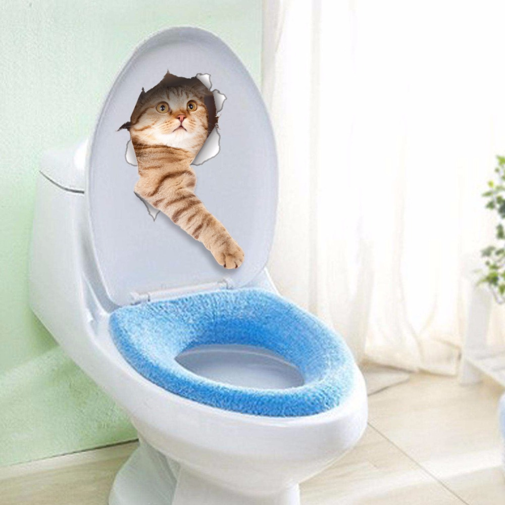 hole view vivid cats 3d wall sticker bathroom toilet living room decoration animal vinyl decals art