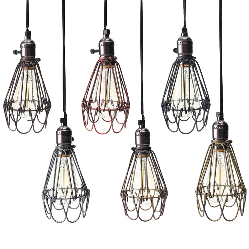Hot Sale Lamp Cover Retro Vintage Industrial Pendant Light Bulb Guard Wire  Cage Ceiling Fitting Hanging Bars Cafe Lamp Shade In Lamp Covers U0026 Shades  From ...