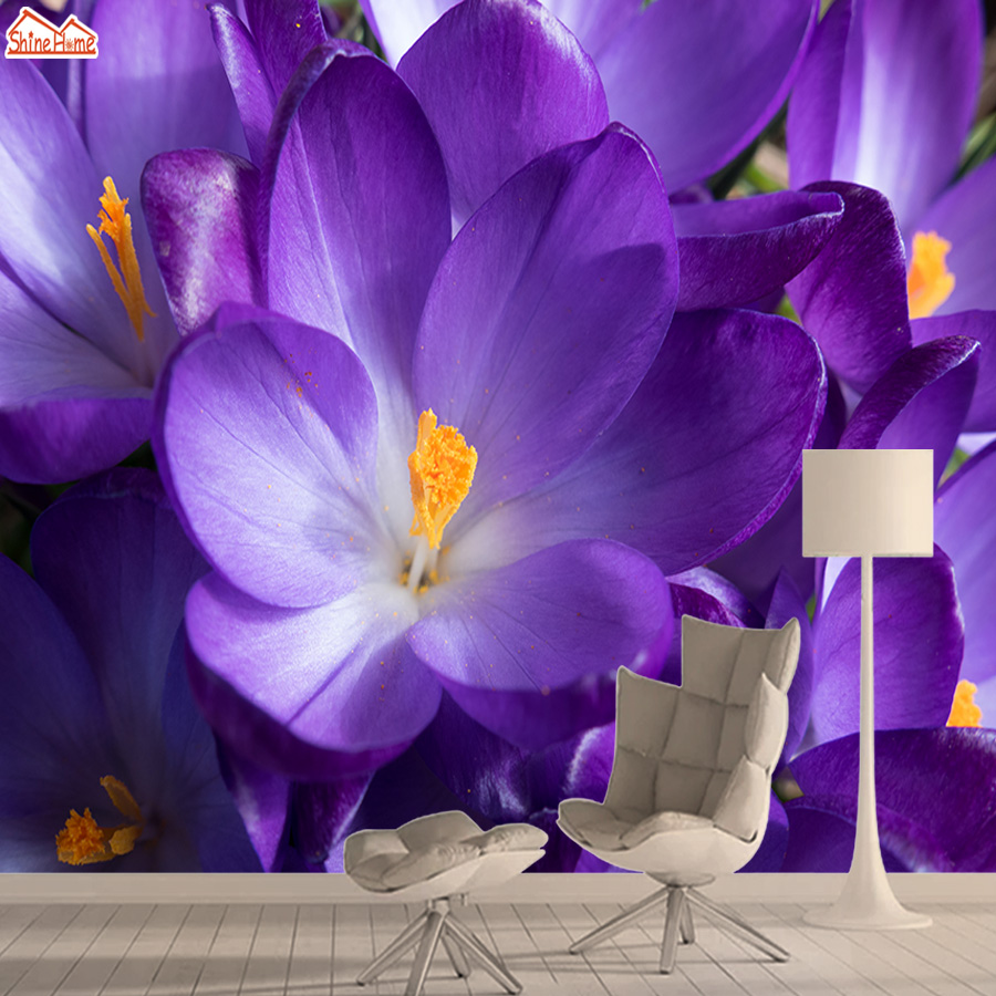 Floral Nature 3d Photo Mural Wallpaper Wallpapers For Living Room Wall Paper Papers Home Decor Peel And Stick Purple Walls Mural
