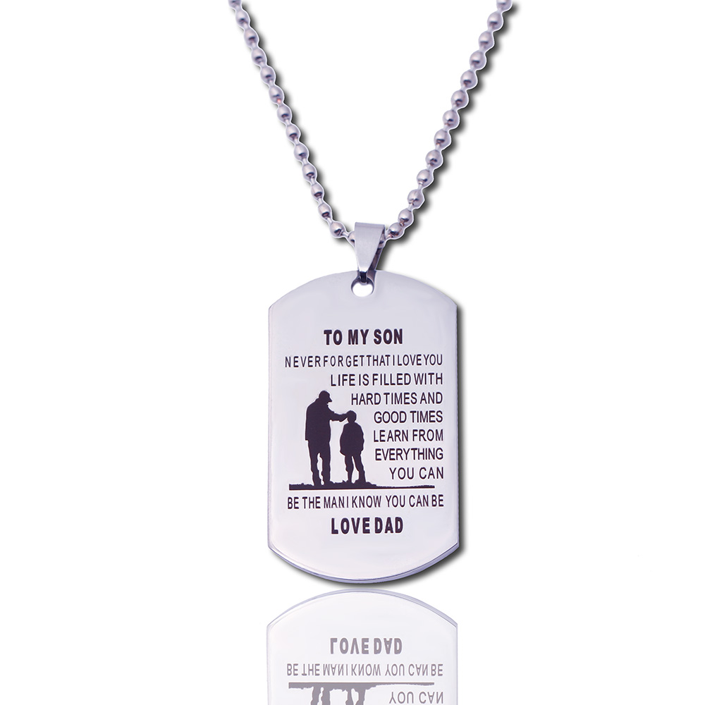Customed Necklaces Dog Tags Dad To Son Pendant Personalized Name Father Son Necklace Metal militar Dogtag Engraving Steel Gift