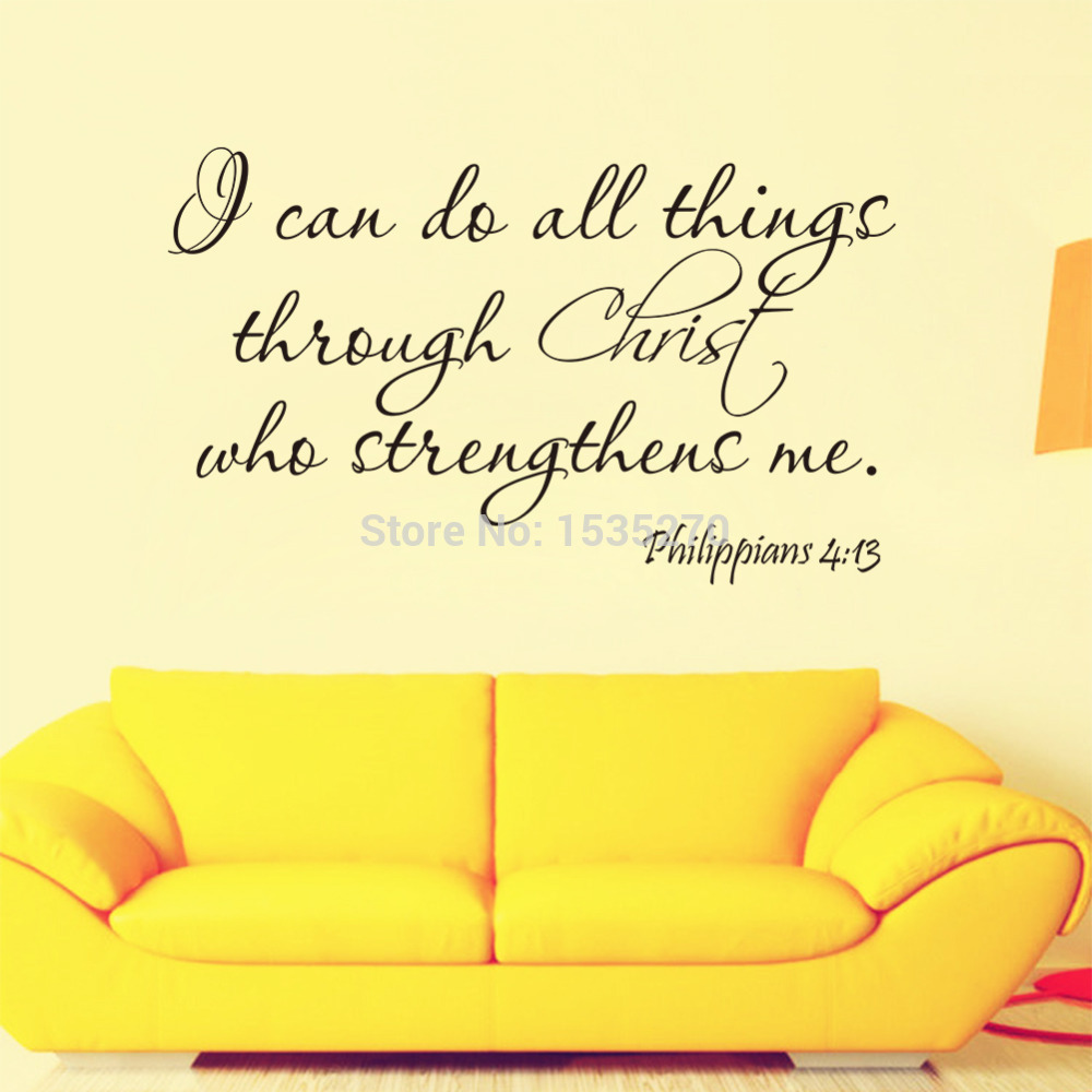 Aliexpress.com : Buy Christ Strengthens me Bible Quotes Wall Decals ...