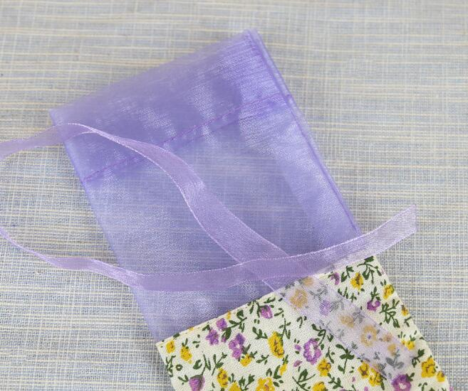 100pcs Light purple small floral flower bag wardrobe sachet mesh cotton cloth bag car aromatherapy LOGO
