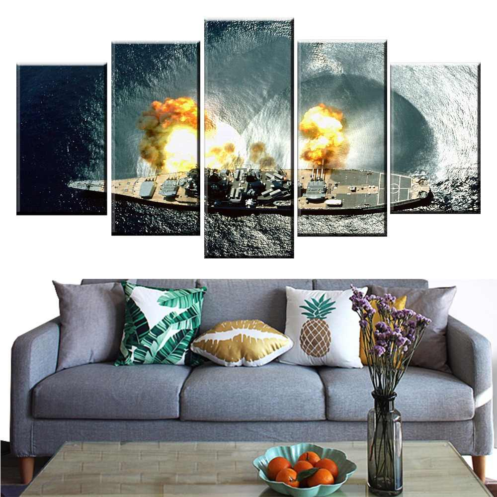 5 Panel Japanese Battleship Yamato War Weapon Poster Printed Painting For Living Room Wall Art Decor HD Picture Artworks Poster