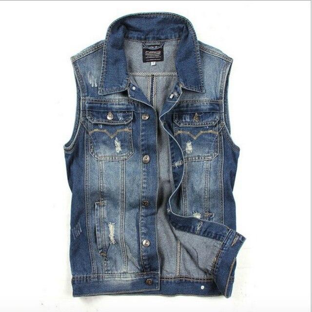 Brand New Mens Denim Vest Frayed Vintage Blue Jean Waistcoat For Man Casual Sleeveless Jackets Streetwear Clothing