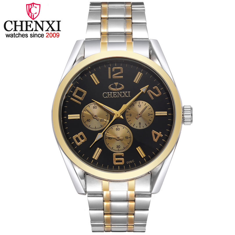 CHENXI Brand Fashion Quartz Men Watch Classic 3 Circle Decoration Golden Male Wristwatch  Popular Leisure Gift Clock Man Watches onlyou men s watch women unique fashion leisure quartz watches band brown watch male clock ladies dress wristwatch black men