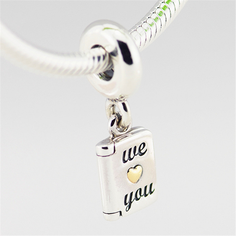 FANDOLA Beads 100% 925 Sterling Silver Mothers Day Card Charm Beads Fits Pandora Charms Bracelet for Women DIY Jewelry Making