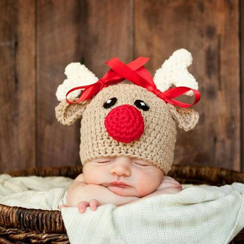 Newborn Baby Wool Cap Child Joker Hand Knit Hat Antler Clothes Hat 0-5 months Fashion Hand-hooked Baby Bonnet Photography Prop newborn baby photography props infant knit crochet costume peacock photo prop costume headband hat clothes set baby shower gift