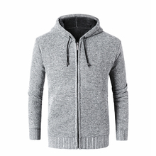 Sweater autumn and winter mens sling hooded zipper cardigan jacket plus velvet thick warm large size S-XXXL slim casual sweater
