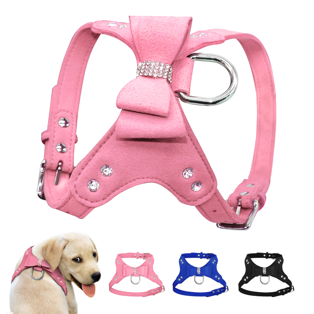 Small Dog Harness Leather Dogs Harness Bowknot Puppy Pet