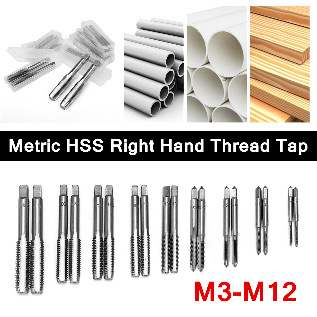 2Pcs Thread Taps Set Spiral Inch M3 M4 M5 M6 M7 M8 M9 M10 M12 Industrial Metric HSS Right Hand Drill Bits Plug Taps Drill Bits