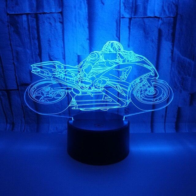 Новинка Мотоцикл 7 цветов Изменение сенсорный Настольная лампа USB СВЕТОДИОДНЫЙ 3D визуальная Иллюзия скрипка ночник спальня дети огни