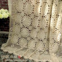 56776fb6bfbfa Artesanal crochê algodão laço a céu aberto crochê tampa de cama estilo  Chinês retro Europeia cortina