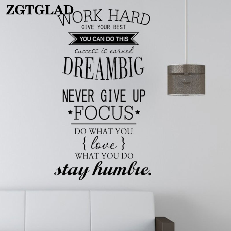 ZGTGLAD 1 Set Motivational Words Wall Stickers Home Decor Work Hard letters Poster Office Stickers Room Decoration