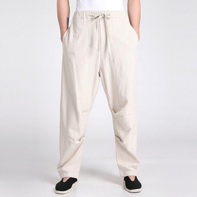 9bf62599c831 Neue Ankunft Chinesischen männer Kung Fu Hose Hohe Qualität Baumwolle  Leinen hosen Casual Mittleren Taillenhosen Größe
