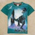 2015 Chicos 3D Dinosaurio Camisetas Niños de Algodón de Manga Corta Del O-cuello niños Camisetas para Niños Ropa Tops Frescos de la Ropa Del Estilo Del Verano TA34