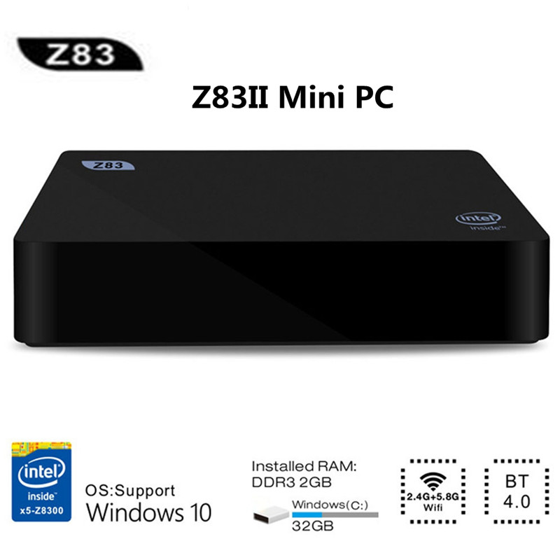 Z83II Mini PC Windows 10 Intel Atom X5-Z8350 Quad Core 2G 32G/4G 64G Minicomputer Mini 2.4G 5.8G WiFi BT4.0 lecteur multimédia