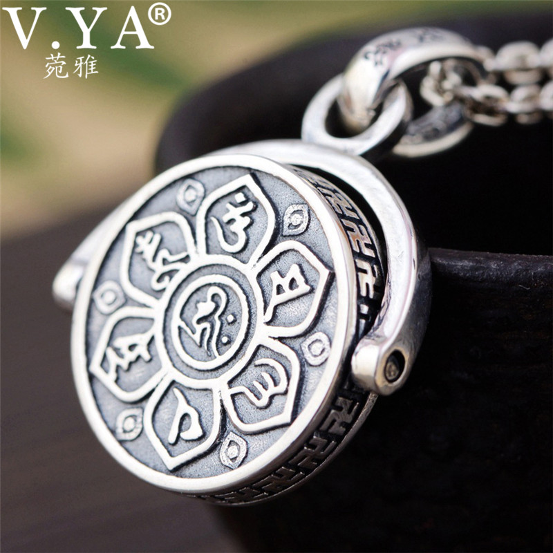 V.YA 925 Sterling Silver Pendant Necklaces Buddhistic Six Words' Sutra Rotated Pendants for Men Religious Jewelry