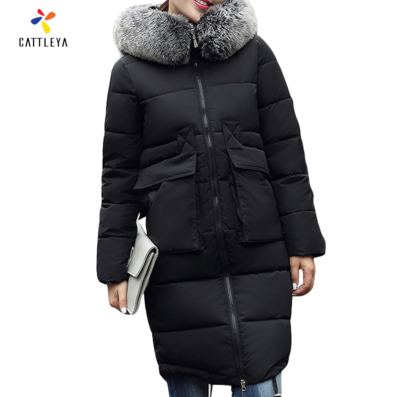 New 2017 Winter Coat Women Slim Big Size Outwear Medium-Long Wadded Jacket Thick Hooded Cotton Fleece Warm Cotton Parkas msfilia new winter coat warm slim women jackets cotton padded medium long thick hooded parkas casual wadded fleece outwear
