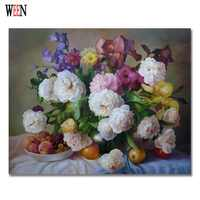 WEEN Flower Pictures By Numbers on Canvas DIY Digital Oil Painting Wall Arts Coloring by Number Home Decoration 40x50cm Gift