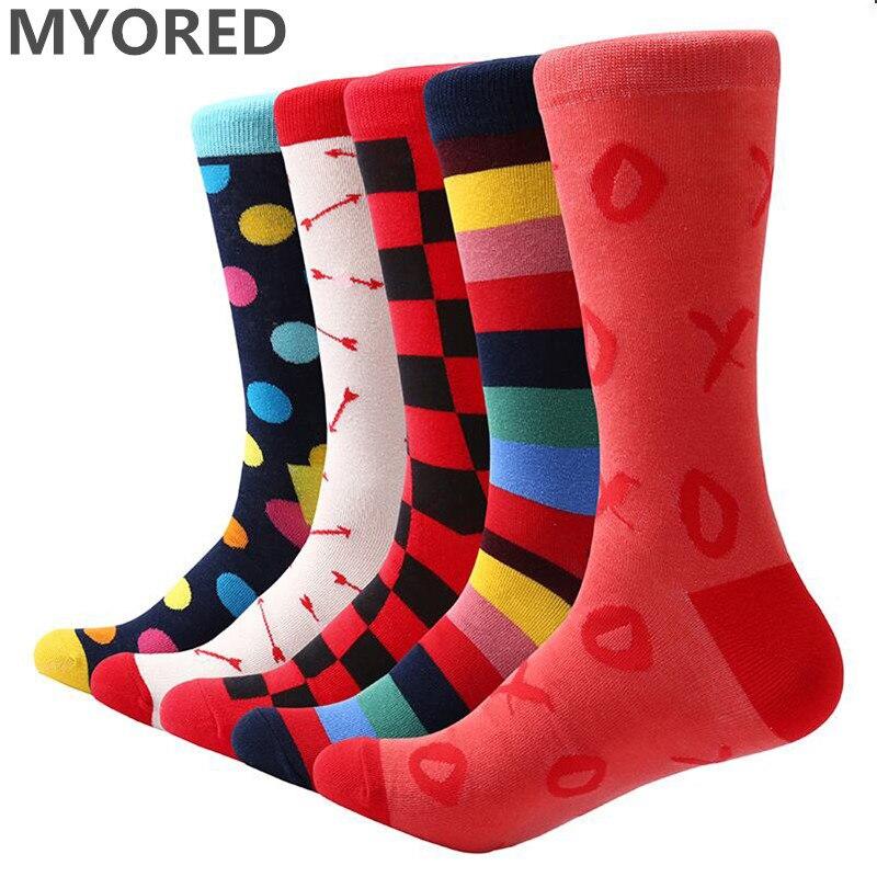 MYORED 5 pair/lot men cotton socks funny socks mens sock for party wear gifts wedding sock