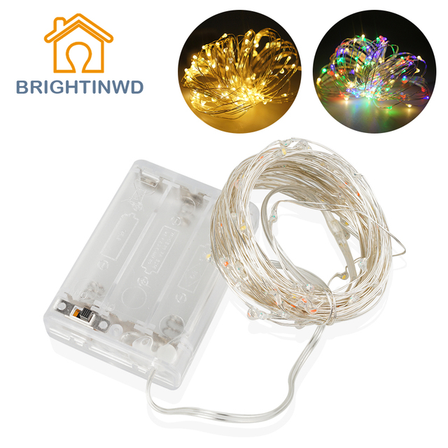 10m Tiny Led Garland String Fairy Light Battery Operated Copper Silver Flasher Christmas Tree Holiday Wedding Party
