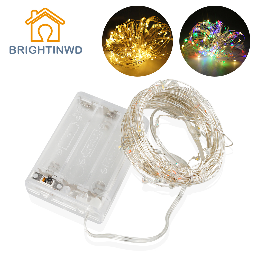 BRIGHTINWD 10M 100 LED Tiny String Fairy Light Battery Operated Copper Silver Wire Christmas Tree Holiday Wedding Party Light