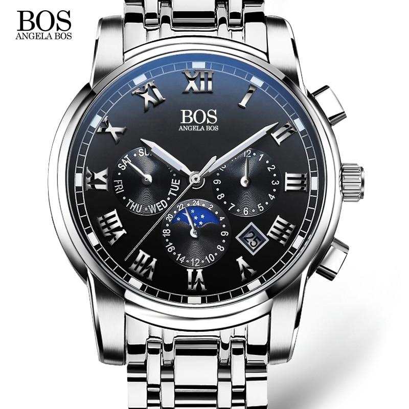 ANGELA BOS Sub Dial Work Waterproof Luminous Wristwatch s