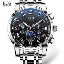 BOS Mens Relojes de Primeras Marcas de Lujo 2016 Sub Dial Trabajo Luminoso Impermeable de Los Hombres Relojes de Cuarzo reloj de Pulsera Relojes para Los Hombres reloj