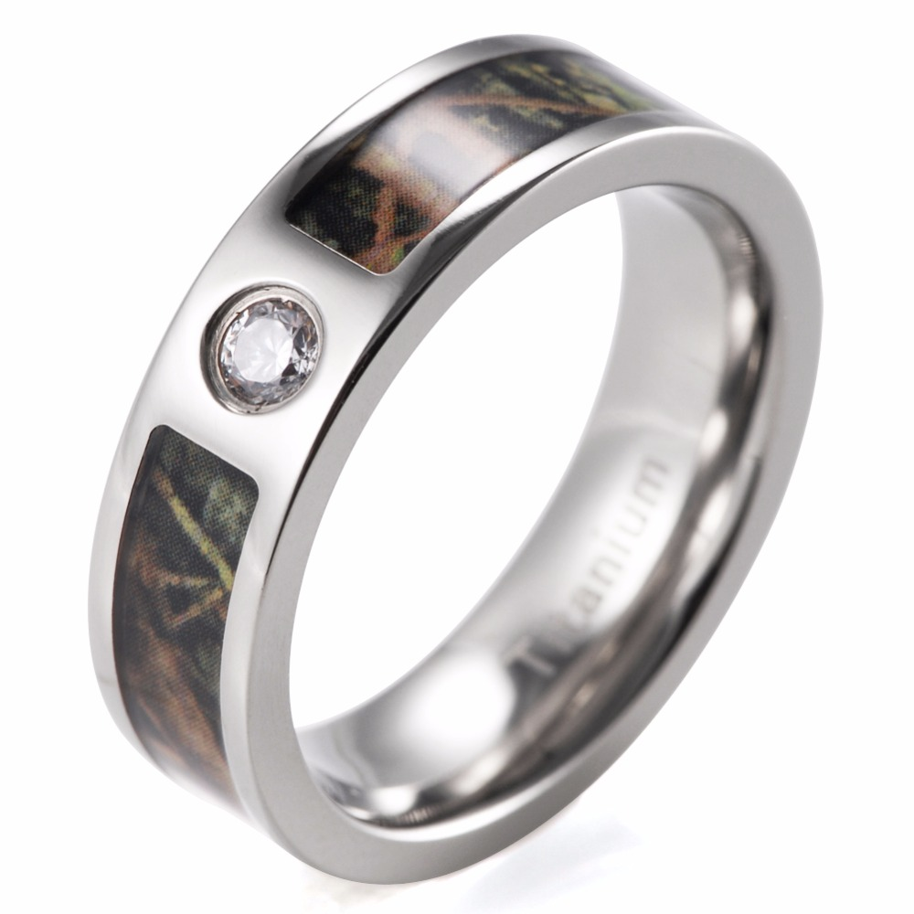 6mm green mossy oak camo cz engagement ring titanium cz crystal mossy oak camo fashion ring - Mossy Oak Wedding Rings