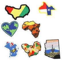 Карта мира патчи для детской одежды железные аппликации DIY полосы вышитые наклейки пришить Национальный флаг значки@ N