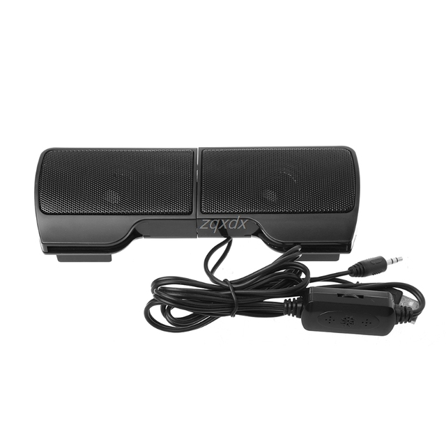 1 Pair Mini Portable Clip-on USB Stereo Speakers line Controller Soundbar for Laptop Notebook Mp3 PC Computer with Clip Jy19 19 2