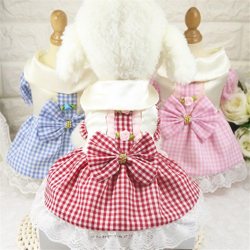 2019 Summer Pet Plaid Dress Tutu Skirt Wedding Dog Dress Pet Princess Dresses Fashion Dog Clothes For Small Dogs Yorkie XS-XXL